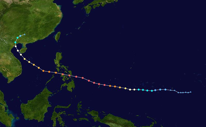 Путь тайфуна на карте.