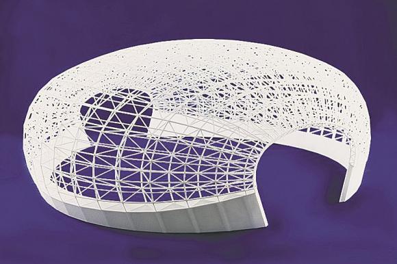 Модель купола стадиона, распечатанная на3D-принтере. Фото 3T RPD