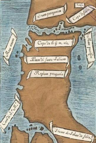 Магелланов пролив. Эскиз карты Пигафетты. Север внизу.