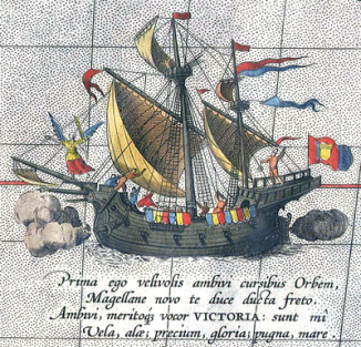 «Виктория»— единственный вернувшийся корабль экспедиции Магеллана. Деталь карты Абрахама Ортелия