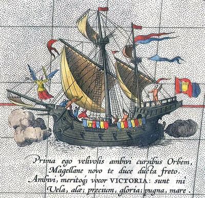 «Виктория»— единственный вернувшийся корабль экспедиции Магеллана. Деталь карты Абрахама Ортелия.