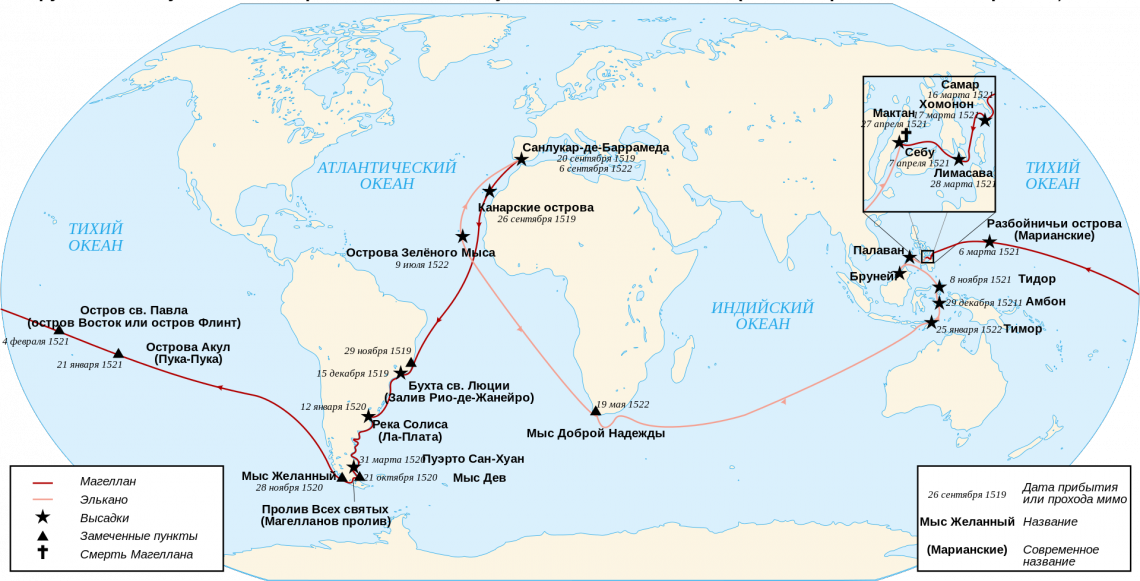 Маршрут кругосветной экспедиции Магеллана—Элькано