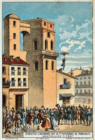 Ленорман прыгает сбашни обсерватории вМонпелье, 1783 год.
