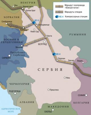 Маршрут газопровода «Южный поток».