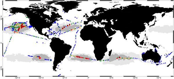 """Карта """"мусорных пятен"""" Мирового океана."""