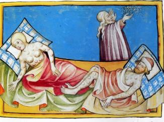 Люди, больные бубонной чумой. Иллюстрация из Тоггенбургской библии (1411 год).