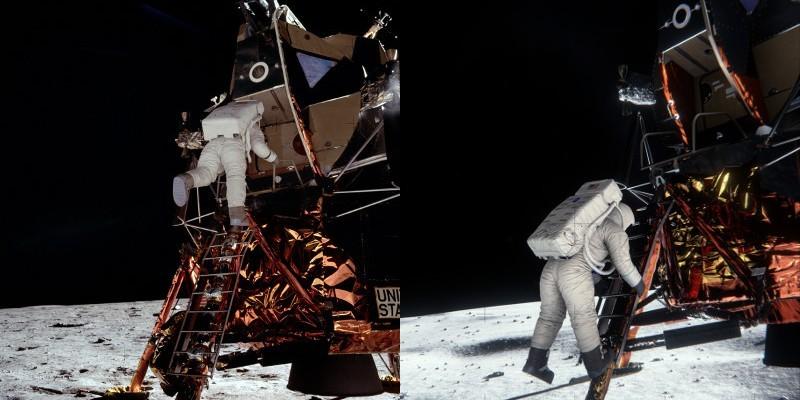 Слева —фотография, сделанная Нилом Армстронгом. Справа— результат программного моделирования сцены.