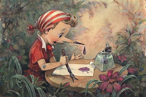 Буратино учится писать.