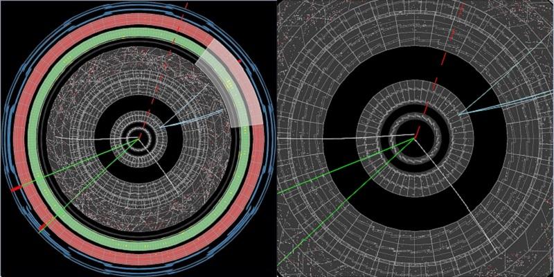 Иллюстрации показывают, как частицы появляются вдетекторе. Линии представляют собой пути заряженных частиц, движущихся отточки столкновения вцентре.