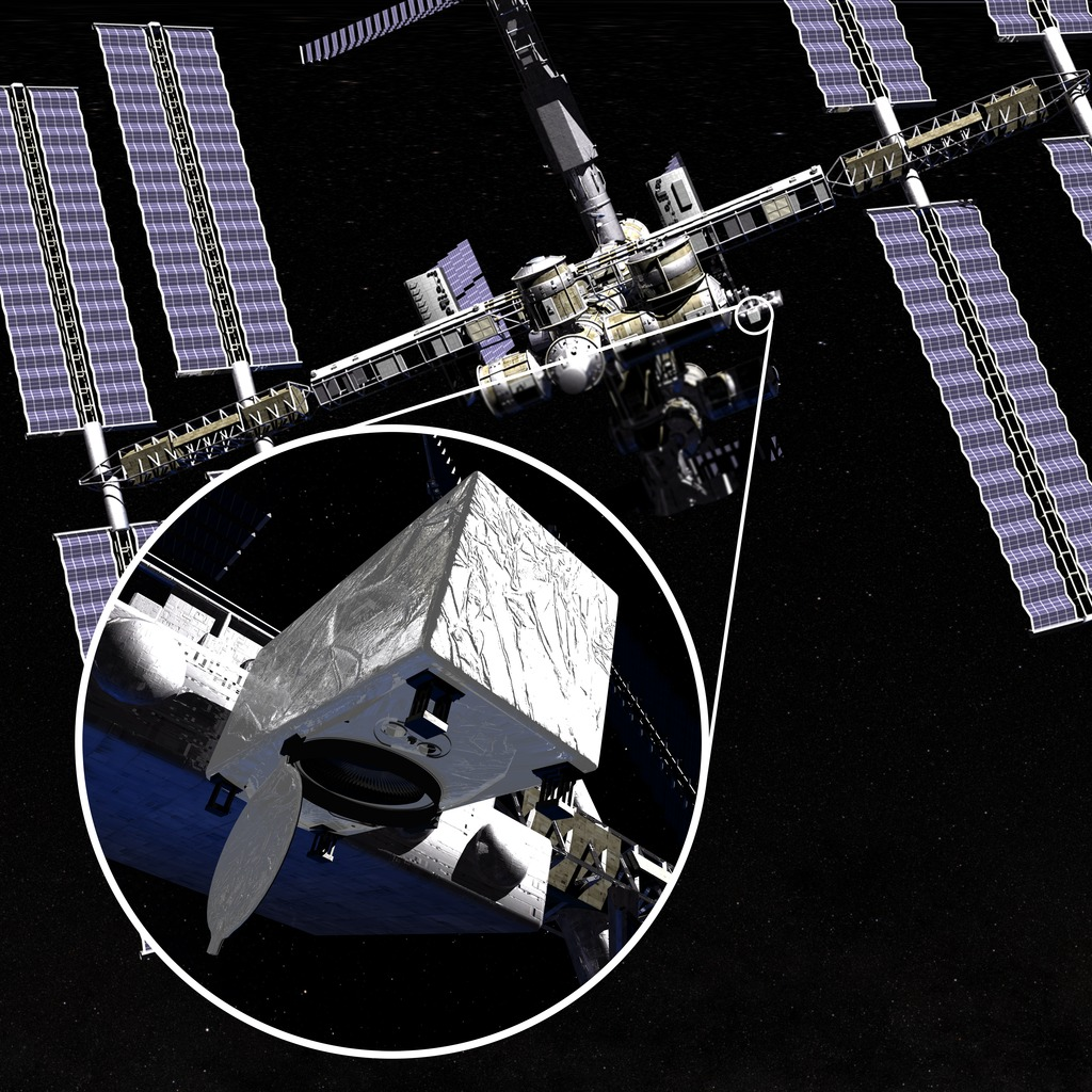 """The Cloud-Aerosol Transport System (CATS) иеё место наМКС. Изображение <abbr lang=""""ru"""" title=""""NASA— Национальное управление по воздухоплаванию иисследованию космического пространства США"""">НАСА</abbr>."""