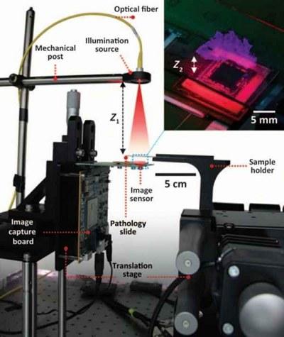 Схема работы голографического микроскопа