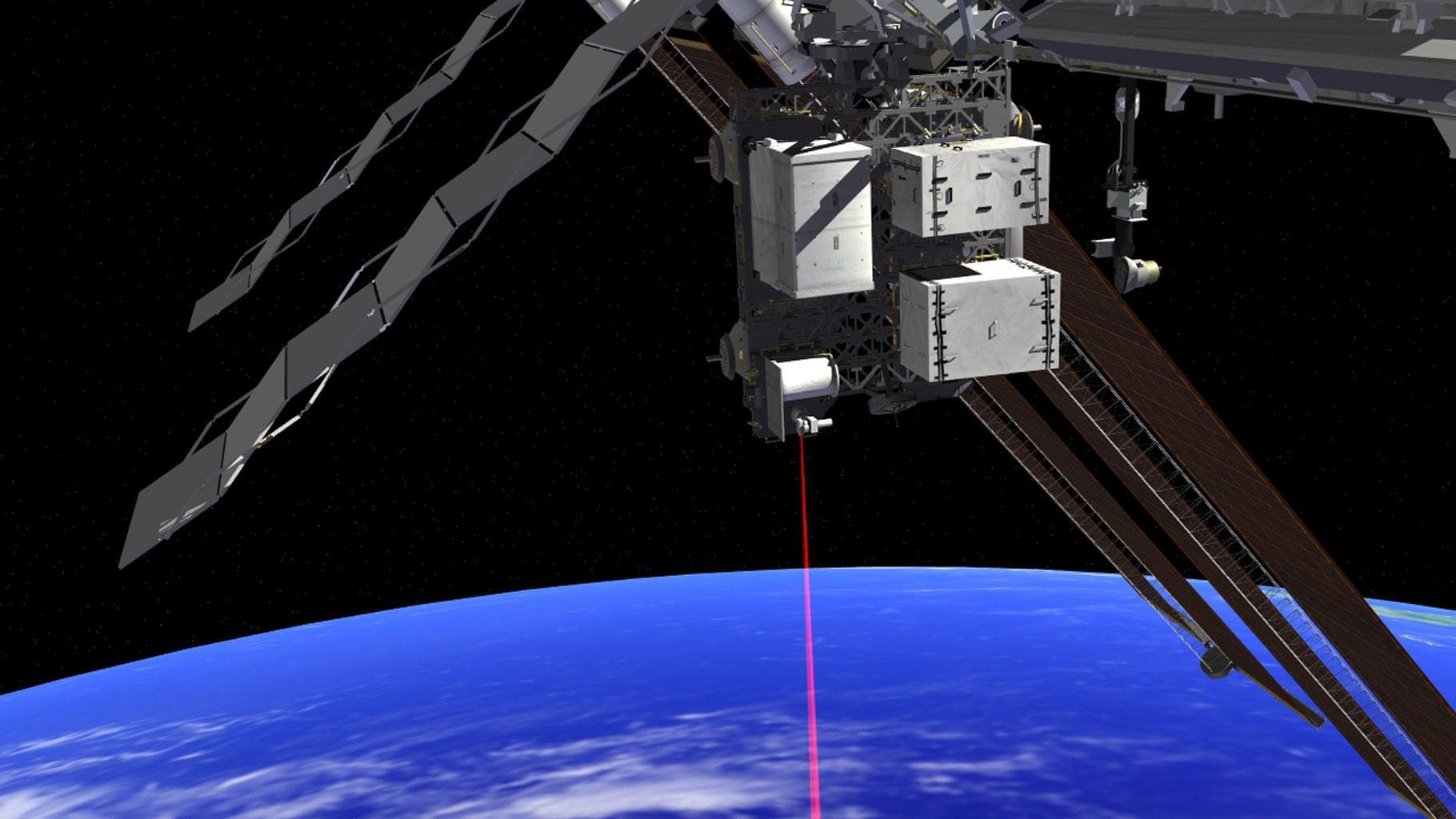 Работа системы OPALS наМеждународной космической станции впредставлении художника. OPALS была доставлена наМКС 18апреля 2014года.