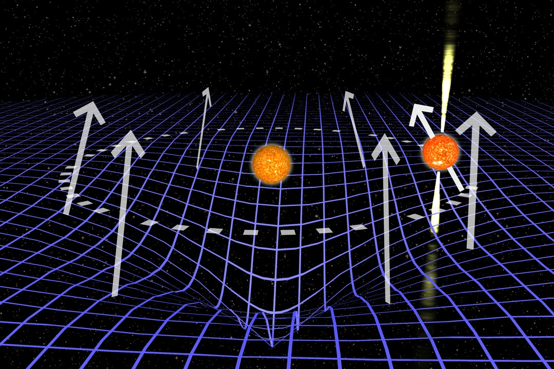 Один виток орбиты пульсара J1906 (справа) вокруг звезды-компаньона (вцентре). Синяя сетка иллюстрирует искажение пространства-времени.