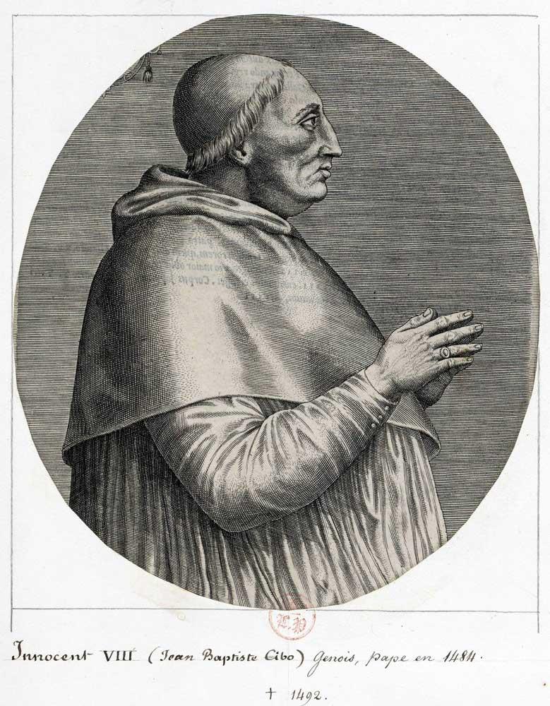 Папа римский Иннокентий VIII. Возможно, он был первым человеком, которого хотели излечить от болезни спомощью переливания крови молодых людей.