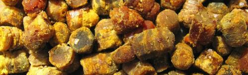 Перга— пыльца растений, собранная пчёлами, утрамбованная всоты изаконсервированная при помощи молочной кислоты имёда вкачестве запаса резервного корма назиму ивесну. Богата витаминами, содержит калий, аминокислоты. Может использоваться как витаминно-микроэлементная добавка кпище. Способна вызывать аллергические реакции (у тех же людей, организм которых откликается аллергией напыльцу, мёд). Неявляется лекарством от рака.