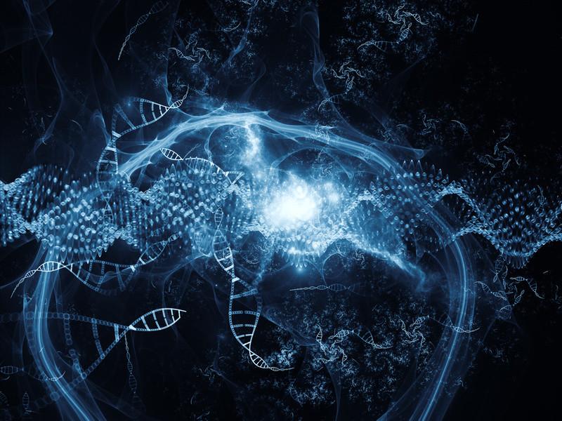 """<abbr lang=""""ru"""" title=""""Дезоксирибонуклеиновая кислота"""">ДНК</abbr> впредставлении художника."""