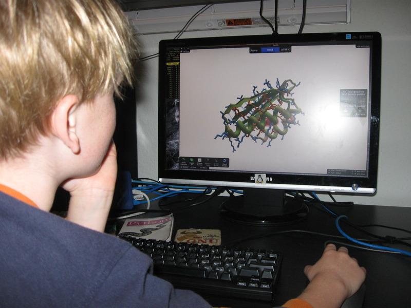 Ребёнок играет вFoldit