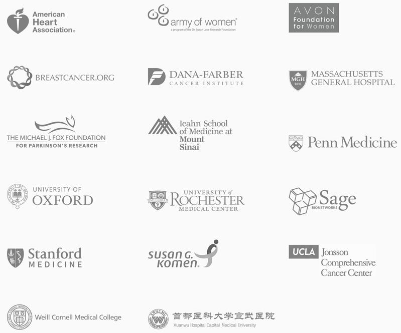 Здравоохранительные иисследовательские учреждения, сотрудничающие с<i>Apple</i> по программе <i>ResearchKit</i>.