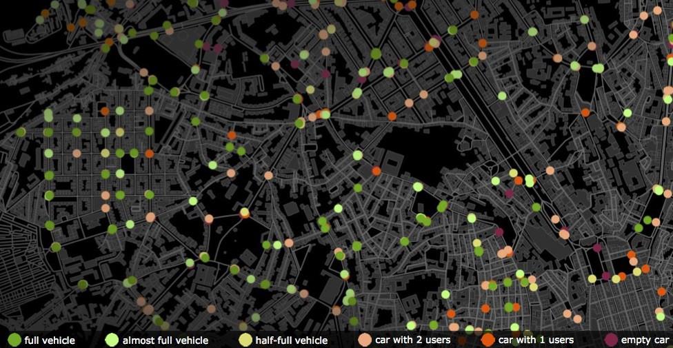 Компьютерная симуляция работы таксиботов вЛиссабоне.