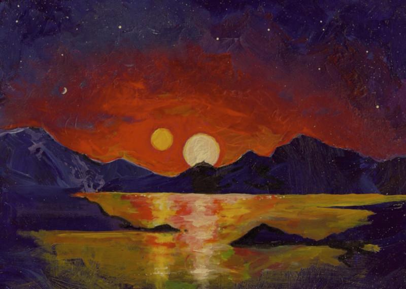 Картина представляет закат напланете, подобной Земле, находящейся всистеме сдвумя звёздами.