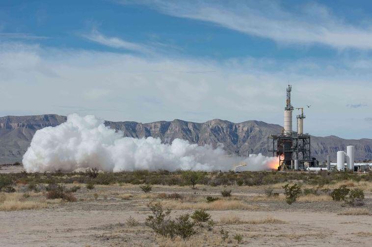 Испытание двигателя для суборбитального корабля фирмы Blue Origin.