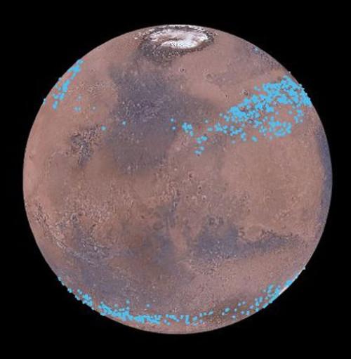 Компьютерная визуализация ледников всредних широтах Марса.