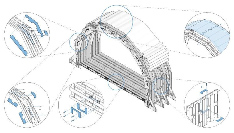 Павильон из европалет. Схема соединения деталей.