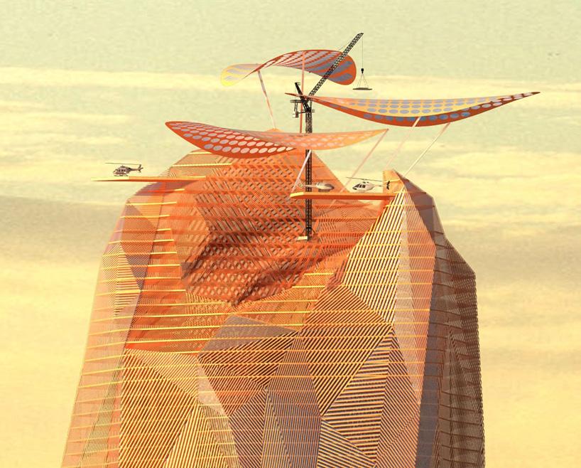 Вертолётная площадка накрыше вертикального города-оазиса.
