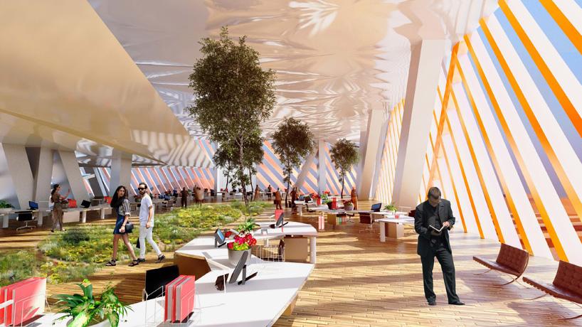 Интерьер многофункционального пространства вертикального города.