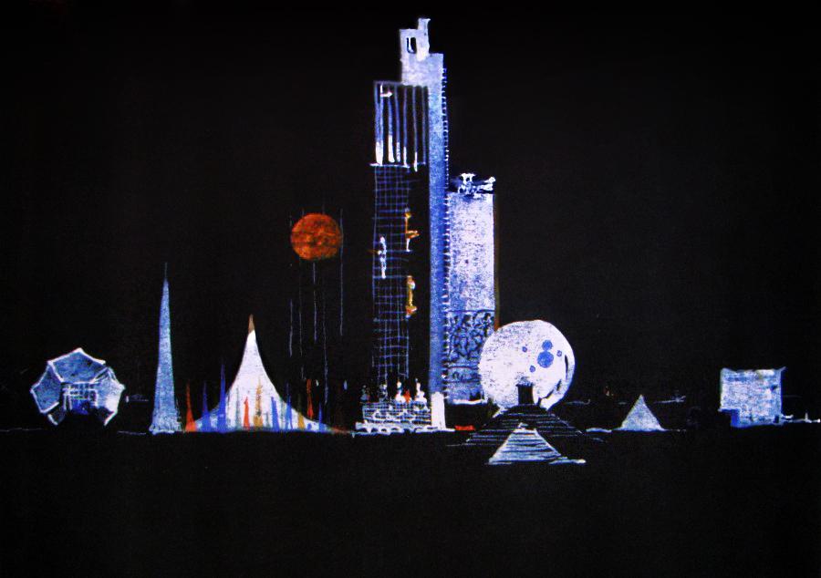 И. Леонидов. Эскиз комплекса зданий Организации Объединённых Наций, 1947-1948 гг.