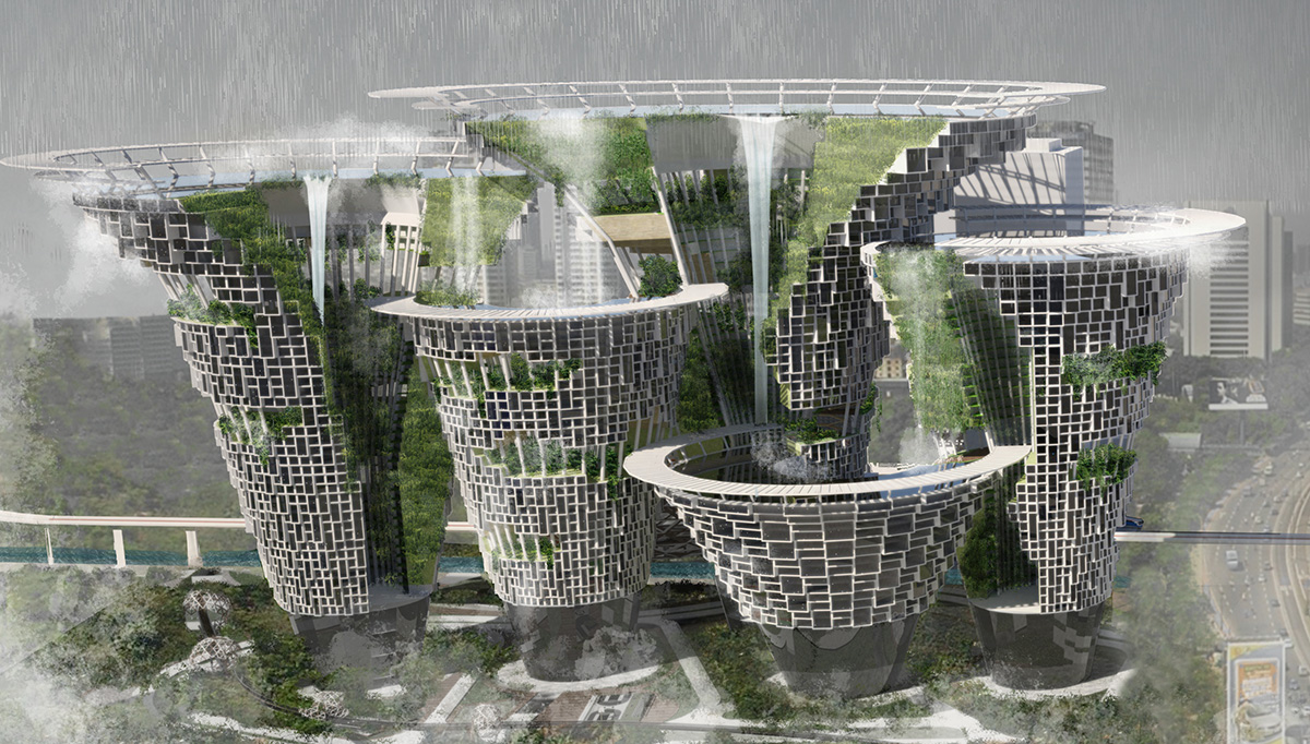 Проект <i>High-Rise Waterfall</i> призван решить проблему наводнений вДжакарте.
