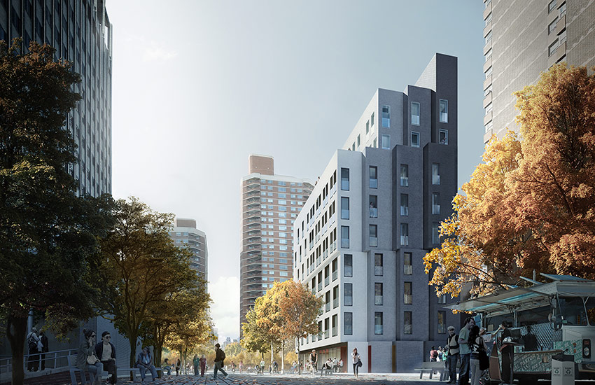 Здание смикроапартаментами вНью-Йорке. Визуализация проекта.