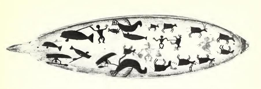 Громовые птицы хватают китов илодки. Резьба по кости (Fitzhugh, Kaplan 1982).