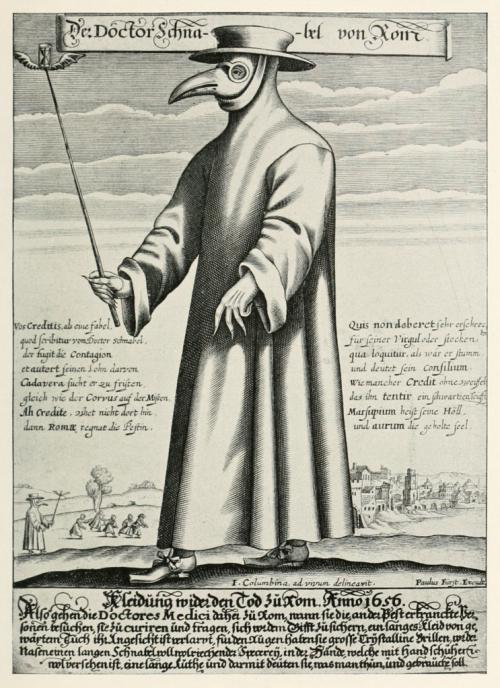Доктор Шнабель фон Ром («Доктор Клюв Рима»), гравюра Поля Фюрста, 1656