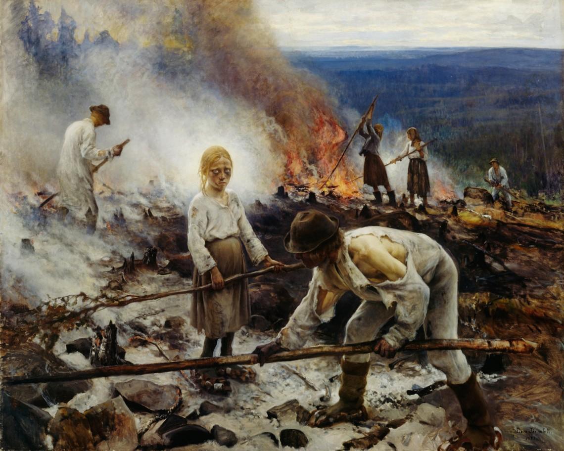 Ээро Ярнефельт. «Под ярмом» («Выжигание леса»), 1893