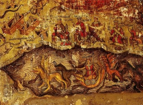 Страшный суд. Византийская фреска, XVI век