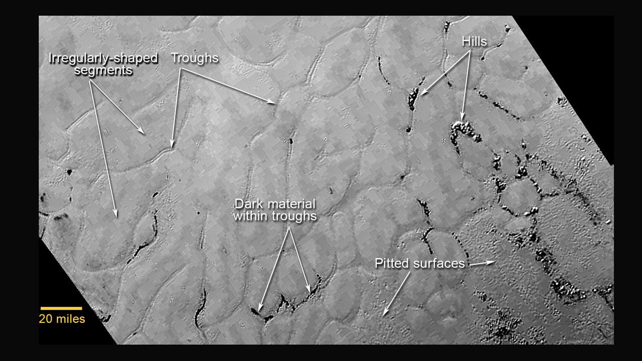 Участок Равнины Спутника, названной вчесть первого искусственного спутника Земли. Изображение сделано прибором <i>LORRI</i> (Long Range Reconnaissance Imager) 14 июля 2015 года срасстояния 77000км. Квадратные блоки являются результатом высокой степени сжатия изображения.