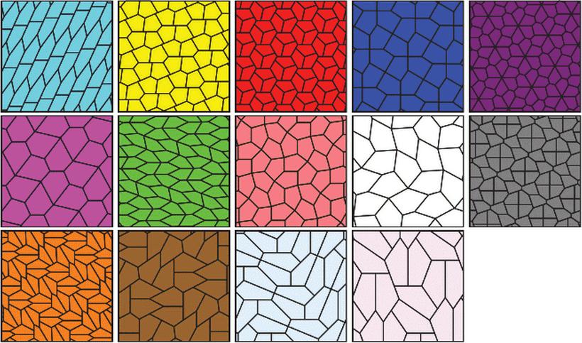 14 видов пятиугольников, покрывающих плоскость.