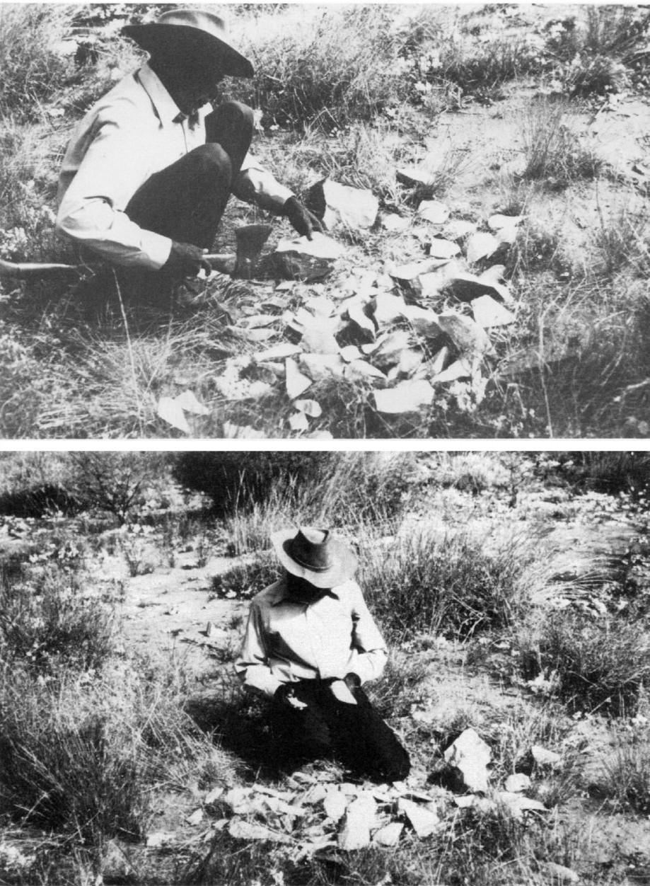 Абориген альявара изготавливает каменные орудия, используя железный топор. 1974г. Источник: Lewis R. Binford and James F. O'Connell. An Alyawara Day: The Stone Quarry // Journal of Anthropological Research, Vol. 40, No. 3 (Autumn, 1984), pp. 406-432