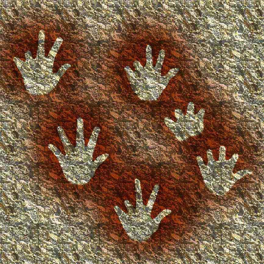 Трафареты рук из пещеры Гаргас, Франция. Коллаж. Источник: http://www.martin-lothar.net/2015/01/nuage-troglodyte.html
