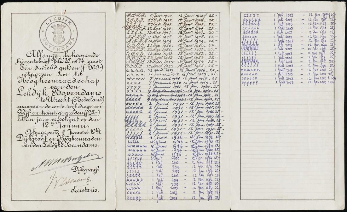 Приложение коблигации, выпущенное в1944 году. Нанём делались отметки овыплате процентов с1944 по 2003 год
