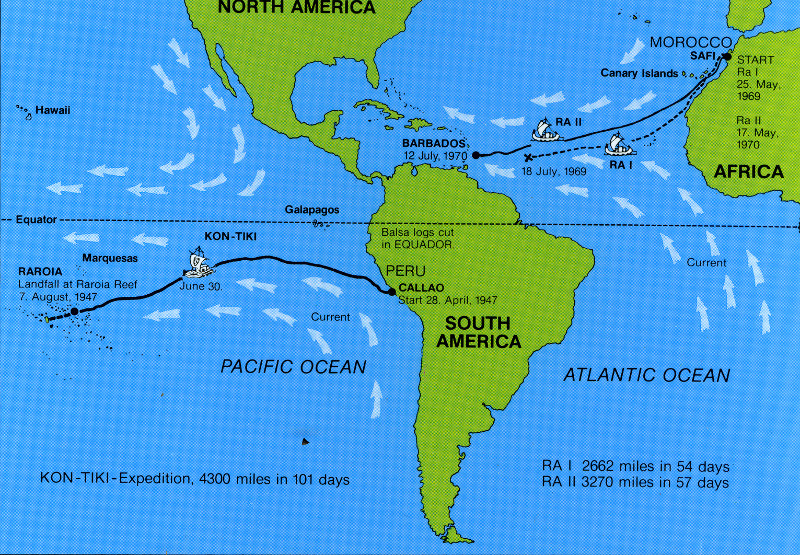 Карта маршрутов экспедиций Тура Хейердала.