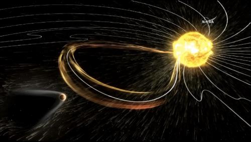 Ударная волна солнечного выброса достигает Марса. Визуализация NASA. Источник: видео-презентация NASA.