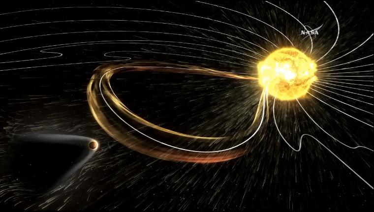 Ударная волна солнечного выброса достигает Марса. Визуализация NASA. Источник: видеопрезентация NASA.