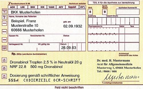 Рецепт надронабинол, выписанный вГермании