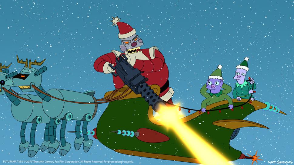 """Санта-бот из """"Футурамы"""" передвигается всанях, запряжённых роботами-оленями."""