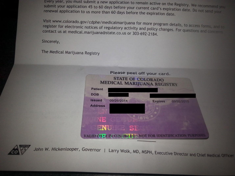 Индивидуальная регистрационная карта больного, имеющего право налечение медицинской марихуаной вштате Колорадо, США