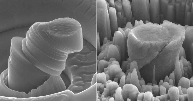 Слева —деформированный образец чистого металла. Справа— композит из магния снаночастицами карбида кремния. Столбики вцентре имеют поперечник около 4 мкм.