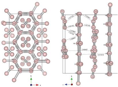 Под давлением 2,2 миллиона атмосфер водород формирует структуры, напоминающие графен (фаза IV)