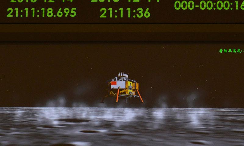 Наэкране Пекинского центра управления космическими полётами демонстрируется анимационное изображение посадки налунную поверхность модуля «Чанъэ-3». 14 декабря 2013 года.